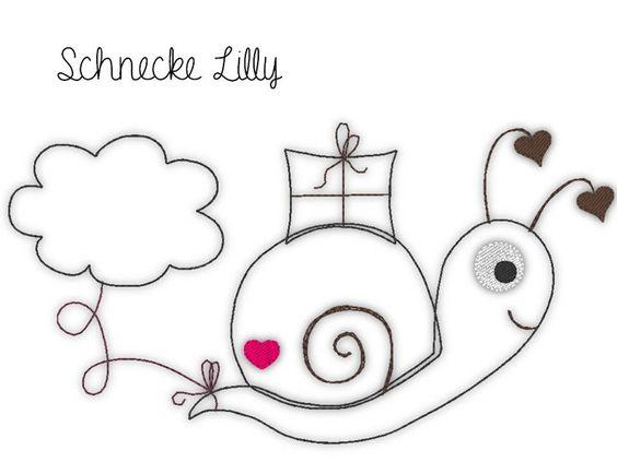 Stickmuster - Stickdatei Schnecken - Doodle - Schnecke Lilly - ein Designerstück von Klitzeklein_design bei DaWanda