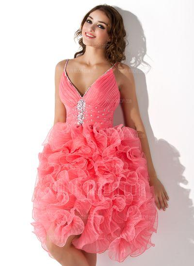 Special Occasion Dresses - $168.99 - A-Line/Princess V-neck Knee-Length Organza Homecoming Dress With Beading Sequins Cascading Ruffles (022008963) http://amormoda.com/A-line-Princess-V-neck-Knee-length-Organza-Homecoming-Dress-With-Beading-Sequins-Cascading-Ruffles-022008963-g8963