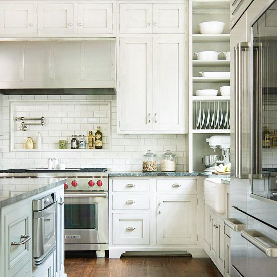 The Beauty Of Timeless Subway Tiles: White Shaker Kitchen, Stove