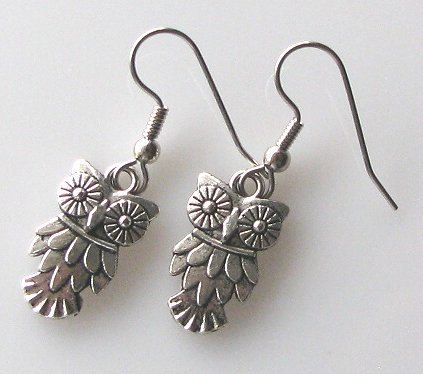 owl earrings owl jewelry accessories surgical steel by KriyaDesign, $12.00
