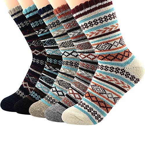 Wool Cashmere 5 Pairs Winter Socks Ladies Thick Casual Soft Women Warm