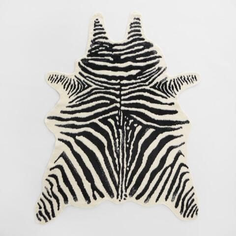 Ivory Faux Zebra Hide Area Rug
