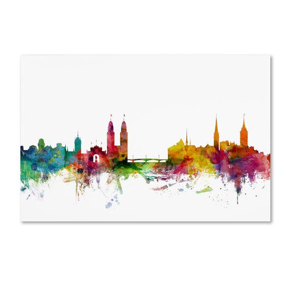 Michael Tompsett 'Zurich Switzerland Skyline' Wall Art