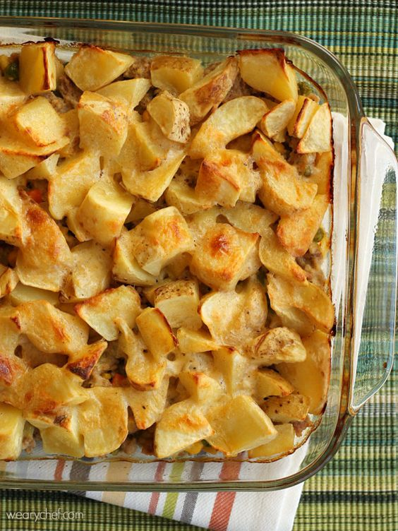 Potatoes Casserole - Ground beef or turkey is sauteed with vegetables ...