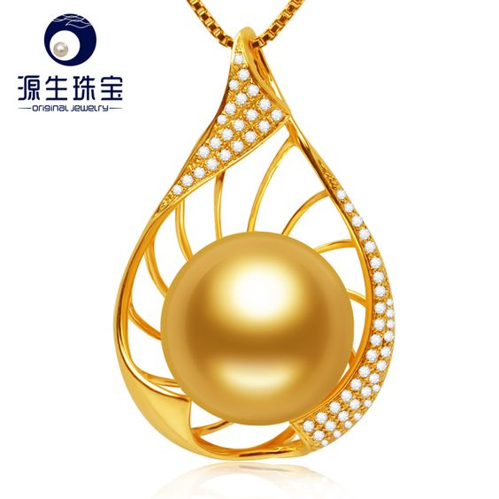 Aliexpress.com : Buy Natural 14 15mm South Sea Pearl Pendant Necklace18K Yellow Gold Diamond Pendant Jewelry S925 Necklace from Reliable necklace natural suppliers on pearls by yuansheng