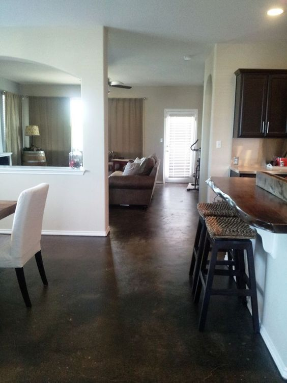 Painted concrete floors look spectacular. Use concrete floor paint, prepare your surface & add a design. Paint, Stain or dye. Videos and tutorial here.