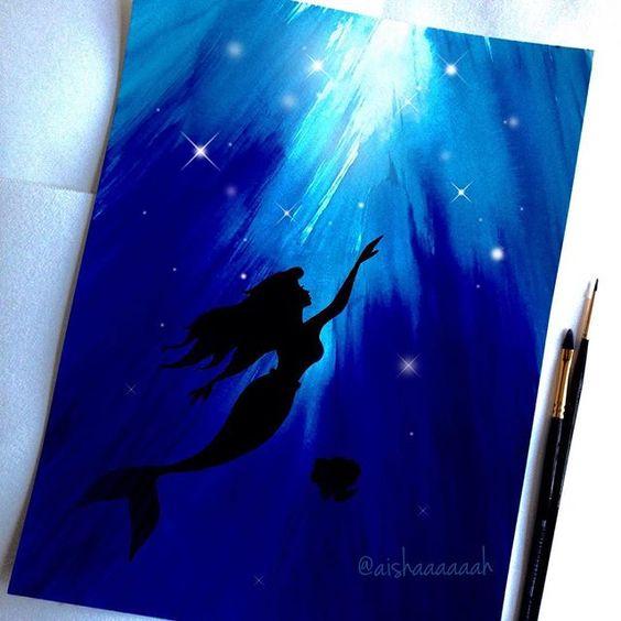 Dibujos Pintura Ariel Ideas De Arte Disney Bricolaje Lona Princess Paintings Canvas Painting Acrylic