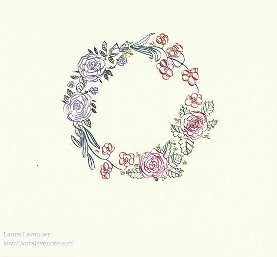 Laura Lavender Calligraphy Illustration Flower Wreath