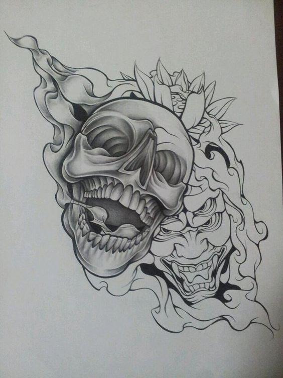 wip skull demon design 2 by magnasicparvis on deviantart drawings tattoos pinterest skulls. Black Bedroom Furniture Sets. Home Design Ideas