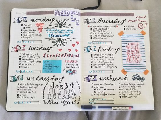11-08 || This week's spread so far!! Getting more and more into handlettering, and I'm having a blast! ✒️: