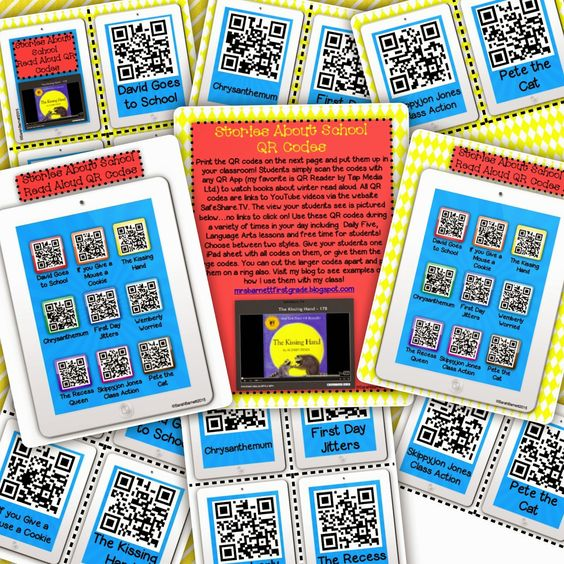FREEBIE! Free QR Code listening center with stories about school! Easy way to incorporate technology!
