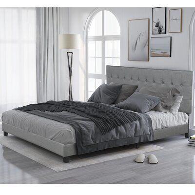 Red Barrel Studio Borah Upholstered Low Profile Sleigh Bed King Size Bed Frame Headboards For Beds Upholstered Platform Bed Low profile king size bed