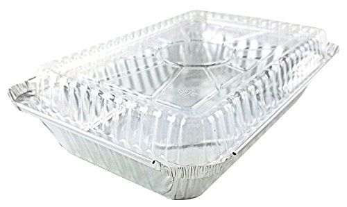 Pactogo 2 Lb Oblong Aluminum Foil Take Out Pan With Clear Dome Lid Disposable Containers 8 44 Food Storage Containers Food Storage Cookware Packaging