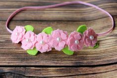 Pink felt flower garland headband by muffintopsandtutus on Etsy