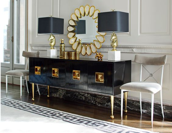 This year, my Jackie is in China. Jewel tones, black lacquer, shiny brass, crisp Greek key trim, and Chinoiserie details are decorating necessities.: