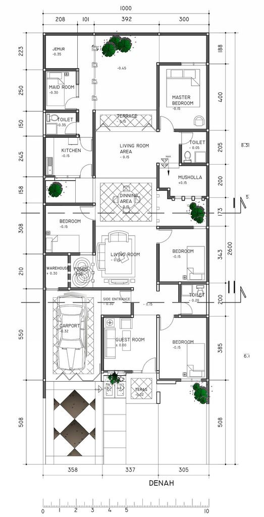 Denah Rumah Tinggal 10x26 M2 House Layout Plans Cabin House Plans Architectural Floor Plans