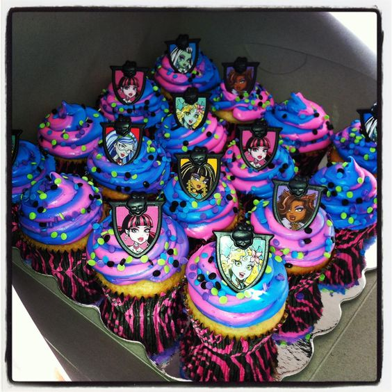 Really easy Monster High Cupcakes, cupcake toppers bought from Walmart bakery 12 for a $1 and then just any box cake you want. The icing is both Pillsbury funfetti one hot pink and one aqua blue. Just put both icings in one pastry bag 1/2 blue 1/2 pink and when you start to pipe it will swirl together. Then sprinkle the top with the sprinkles and add toppers! So easy and look much nicer then store bought ones