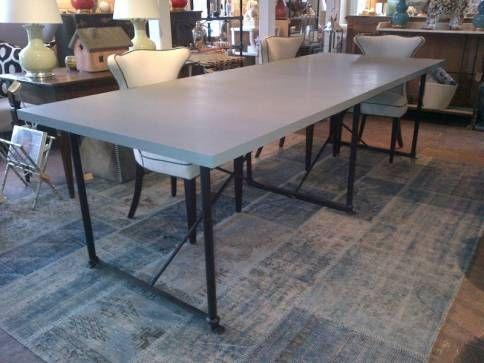 metal base bluestone top dining table | mecox gardens | outdoor