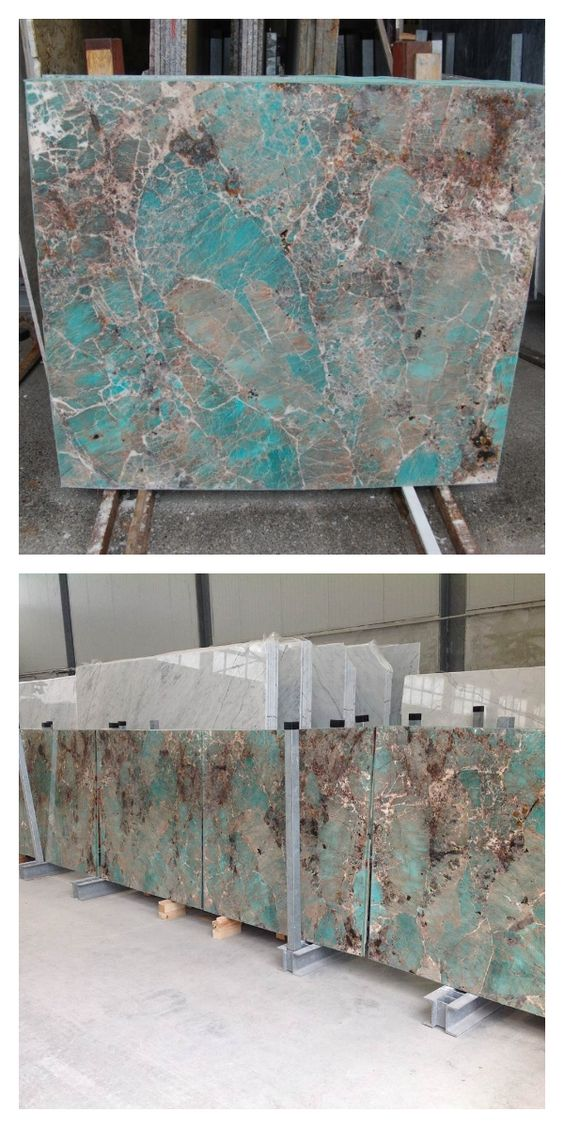 These slabs of ‪#‎TiffanyTurquoise‬ AMAZONITE, laid out for inspection by Walker Zanger, are for a client's private residence at ONE 57- 157 W 57th Street, the Billionaire's Building, in New York City.