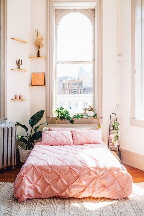Pink Bedroom Window Small Bedroom Big Window Loft Attic Rug