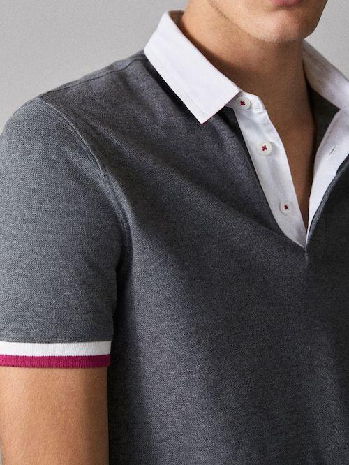 Polo algodón contraste   Camisetas polo hombre, Camisetas
