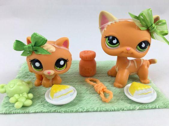 "Littlest Pet Shop RARE Orange ""Mommy & Kitten"" #525/1998 w/Accessories #Hasbro"