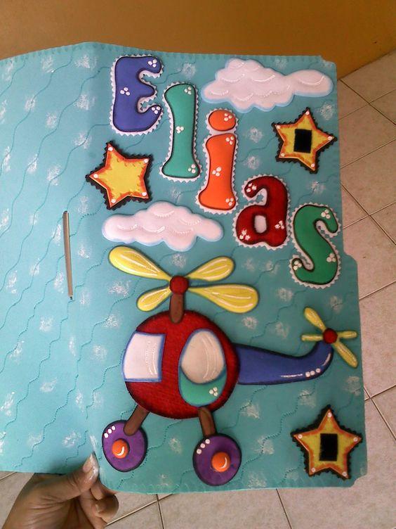 Carpeta decorada para control maternal ni o libretas y for Sanitarios infantiles