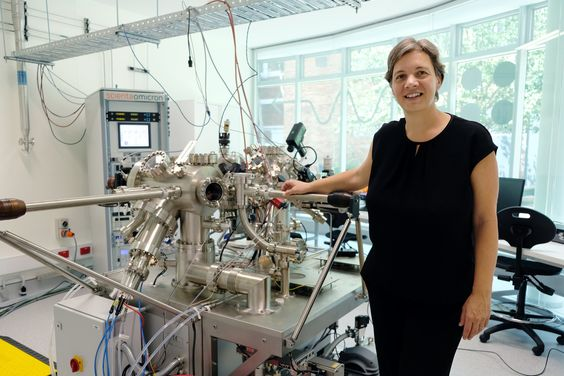 UNSW Professor Michelle Simmons, Director of the Centre of Excellence for Quantum Computation and Communication Technology, with a scanning tunnelling microscope