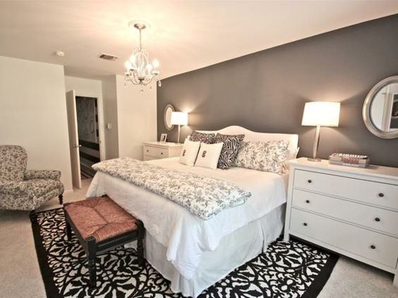 Das Schlafzimmer günstig einrichten schwarz weiß teppich ...