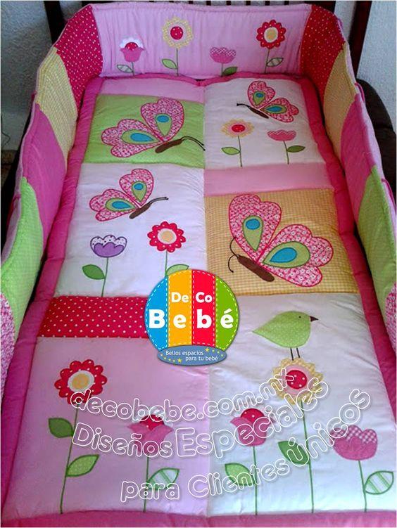 Deco bebe set de cuna tema mariposas y flores decobebe - Cunas para bebes recien nacidos ...