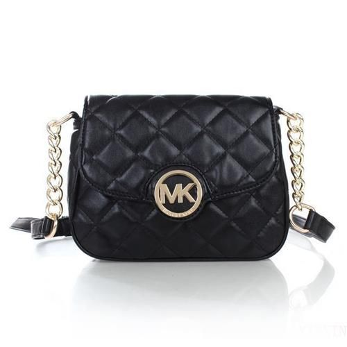 Michael Kors Fulton Quilted Leather Small Black Crossbody Bag