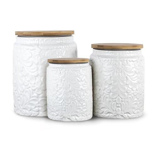 Set Of Three White Textured Ceramic Canisters With Bamboo Lids Ceramic Canisters Ceramic Canister Set Canisters