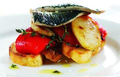 Grilled sardines on toasted foccacia bread - Shaun Rankin