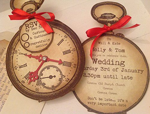 personalised alice in wonderland christmas party With pocket watch wedding invitations