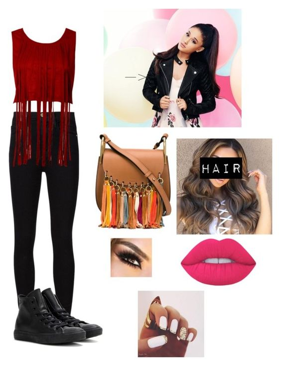 """Untitled #55"" by laprincessa10 ❤ liked on Polyvore featuring Frame Denim, Converse, Lipsy, Chloé and Lime Crime"