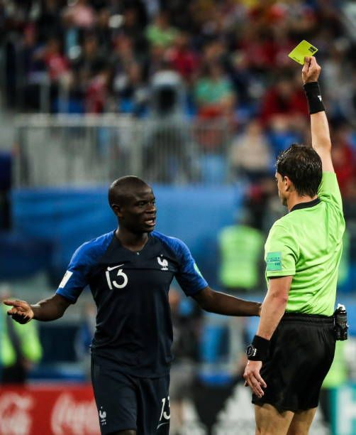 Referee Andres Cunha Shows A Yellow Card To France S N Golo Kante In The 2018 Fifa World Cup Semifinal Match Between France An Referee Fifa World Cup World Cup
