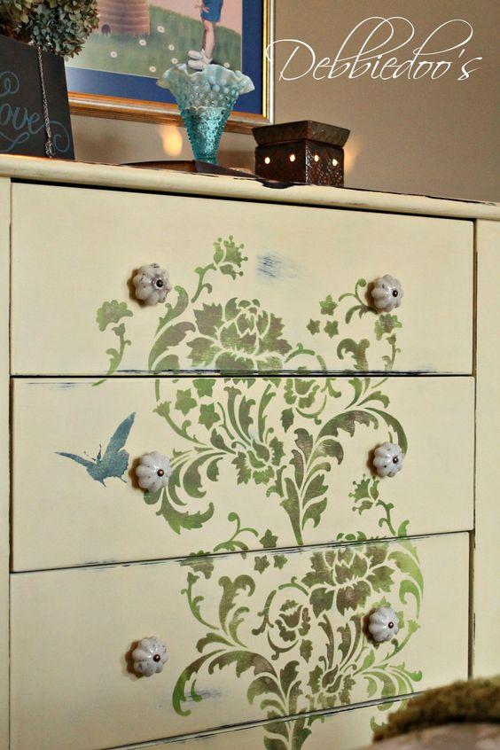 Diy Painted Stencil Bathroom Floor: How To Stencil On Furniture - Debbiedoo's