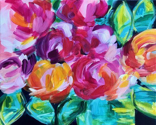 Ideas For Painting Easy Abstract Flowers On Canvas With Acrylic Paint For Beginners Step By Step Elle Byers Painting Flower Painting Canvas Flower Painting