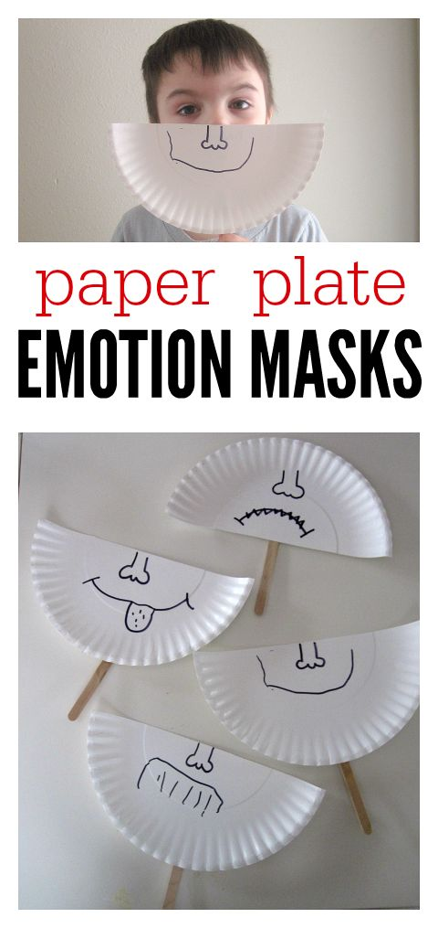 So simple it's brilliant. Talk about feelings and make these emotion masks at preschool.