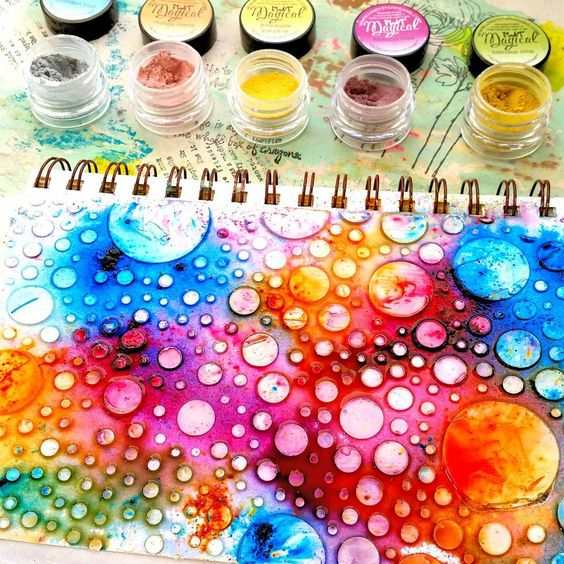 """Currently #OnMyArtTable. The vibrancy of these Magicals pigment powders by #lindysstampgang blows me away every time. #magicals #lindys #artjournaling…"""