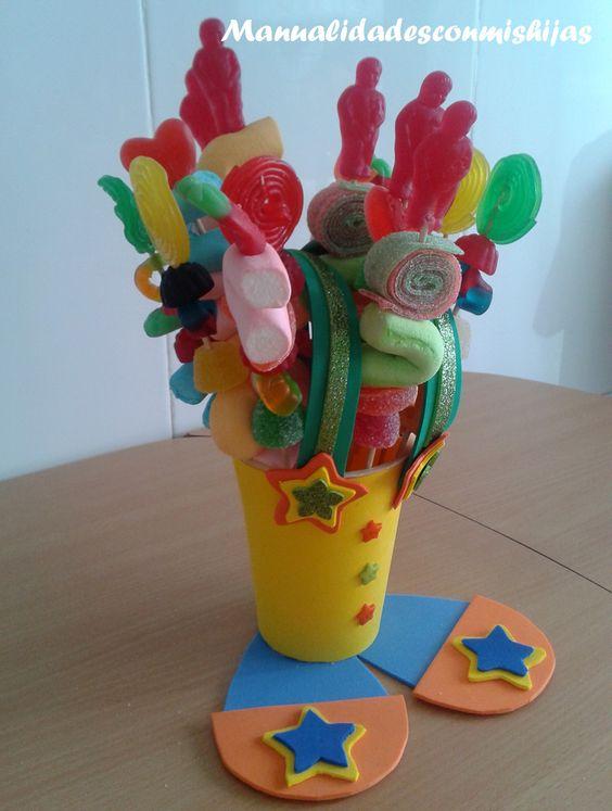 Brochetas de gominolas para nuestro dulcero payaso mcmh - Manualidades para cumpleanos ...