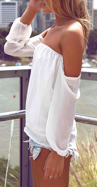 Off shoulder blouse, I think the white looks good with the denim!: