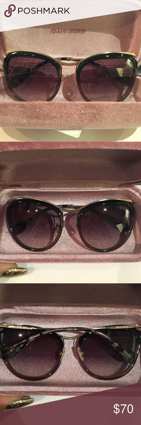 Miu Miu sunglasses (brown and gold)! Miu Miu sunglasses in brown and gold! Only worn twice! Style: MU 51PS DHK0A7 Miu Miu Accessories Sunglasses