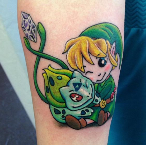 """This charming tattoo of Link and Bulbasaur chillin' together: 