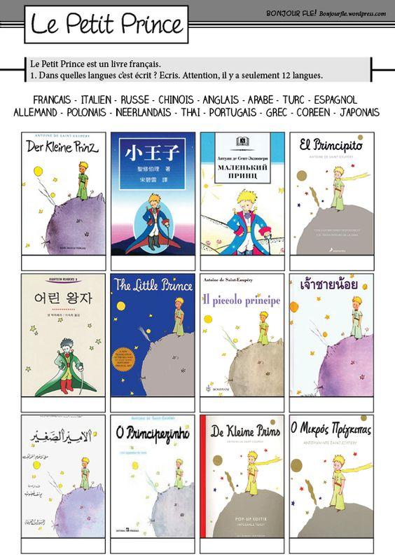 Une activité pour les langues... avec les couvertures du Petit Prince. Le PDF ici : petitprincelivres: