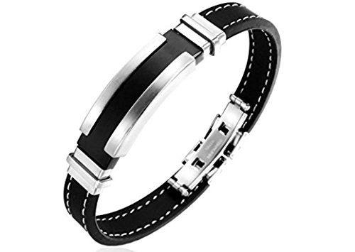 Acier Inoxydable /& Cuir véritable Bracelets Bijoux Bracelet Hommes Femmes meilleurs cadeaux