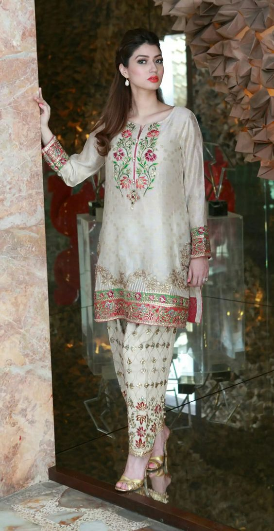 White Net Embroidered Shirt with Straight Trouser