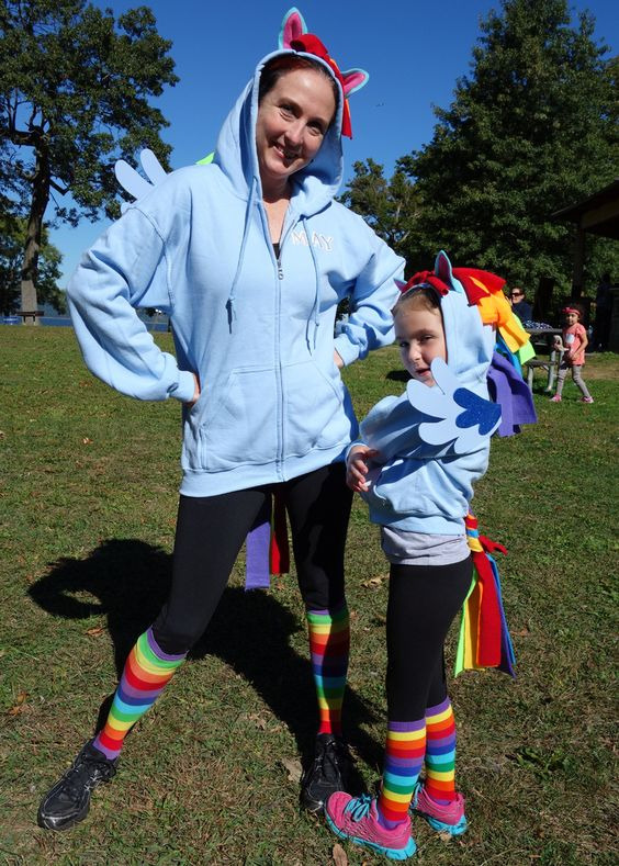 An easy way to make a My Little Pony costume for adults and kids using a hoodie and fleece. This tutorial is how to make a Rainbow Dash costume, but ...