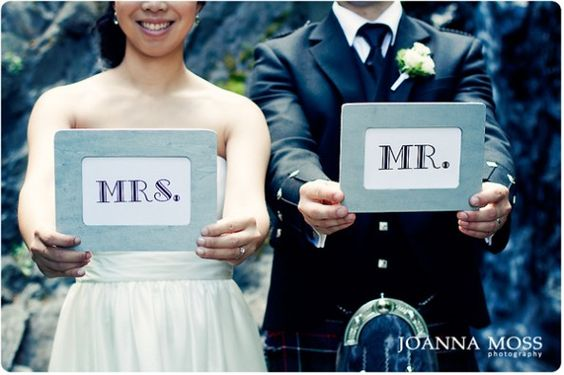 Mr. and Mrs. bride and groom shot by Joanna Moss Photography