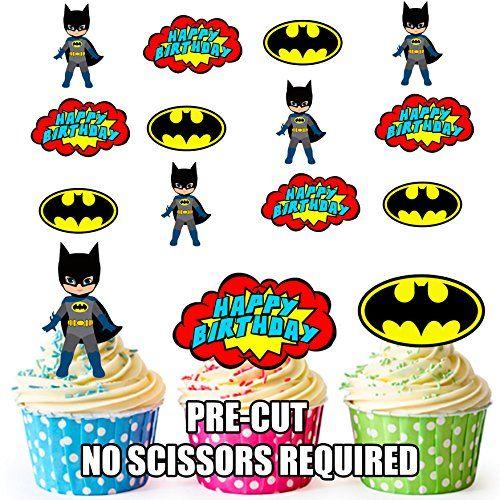 Cakeshop 12 x PRE-CUT Batman Comic Edible Cake Toppers